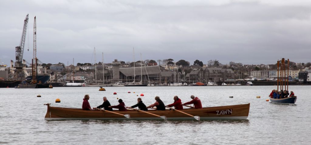 Zawn launch fmpgc March 1 2014 rowing away nankersey in background